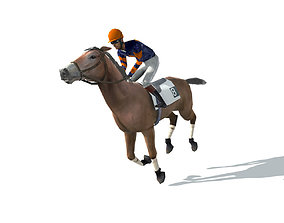 3D asset animated Race Horse and Jockey with LOD