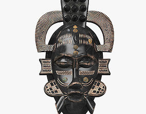 3D model low-poly African masks Senufo Porcupine