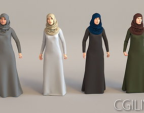 4x Arabic real cloth simulation loop animated 3D model