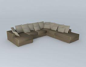 7P taupe sofa LOFT Maisons du monde 3D model