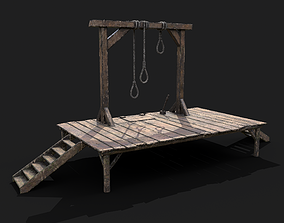 3D asset realtime Medieval Gallows