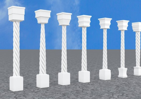 Pillar Model with Box and Cylinder using Taper and Twist Modifier