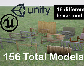 3D Low Poly Wooden Fence Collection