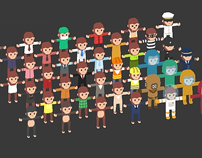 3D model Low Poly Mr Mo Characters Package