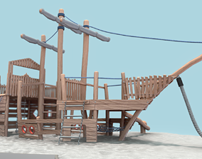 3D asset Playground Wood Ship