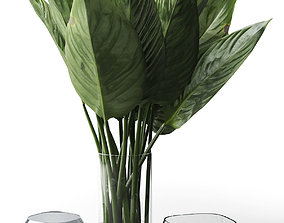 gray Glass Vases with Leaves 3D