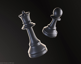 3D model Pawn and Queen