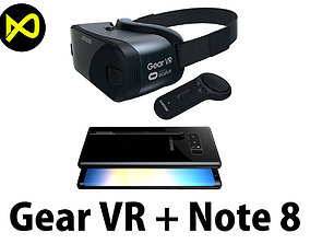 3D Samsung Gear VR And Controller And Galaxy Note 8