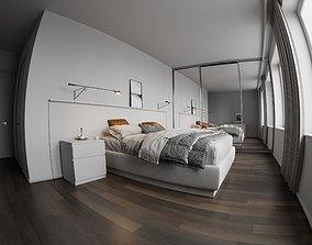 3D White bedroom