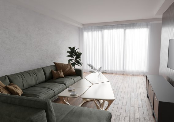interior visualization of the room in soft pastel colors