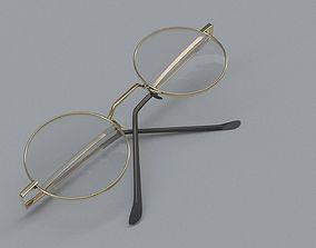 realistic round glasses 3D model