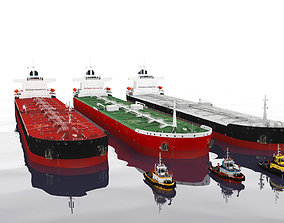 3D asset low-poly Panamax tanker and tugboat