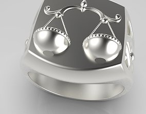 Zodiac ring Libra 3D printable model jewelry