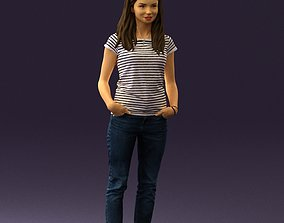 Woman in stripped shirt jeans 0605 3D print model