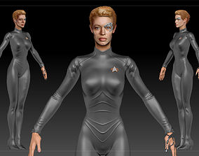 3D asset Star Trek Seven of Nine T-pose Low poly and High