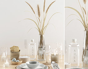 Hygge tableware with dry grass 3D