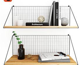 Bookshelves with decor furniture 3D model