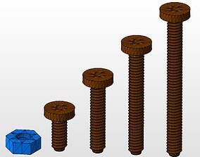 3D printable model m8 screws and nut collection