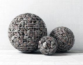 Gabion sphere form 3D model flowerbed
