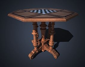 solid cherry chess table 3D model