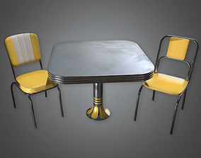 3D Retro Table and Chairs 02 Midcentury Collection PBR 1