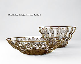 3D model Metal Scallop Shells Low Bowl and Tall Bowl