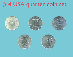 3D USA quarter coin - set model 4