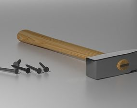 Hammer with Nails 3D