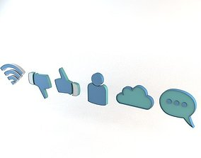 Social Media Internet Online Symbols 3D model