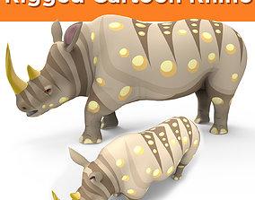 rigged Cartoon Rhino 3D Model Rigged