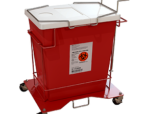 3D Covidien Foot Pedal Cart and Gallon Hinged Lid