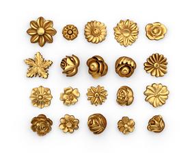 Decorative Flowers Set 01 3D printable model