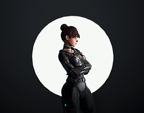 3D asset Anime Sci-fi girl engineer low-poly
