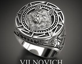 3D print model jewel white wolf ring