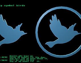 Low poly symbol birds 1 3D model