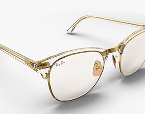 Transparent Ray-Ban Clubmaster Eyeglasses 3D