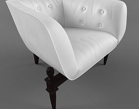 3D model white armchair with wooden base