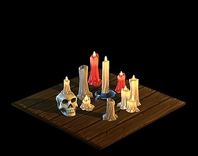 Low Poly Candles 3D asset