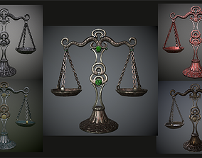 3D asset Balance scales of justice low 5 texture options 1