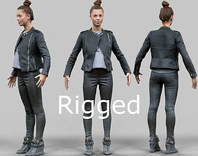 A Pose girl in leather skirt Rigged 3D asset