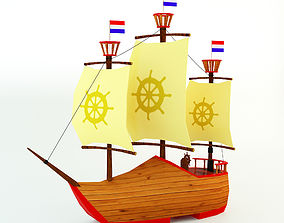 3D model Low Poly Netherlands Boat