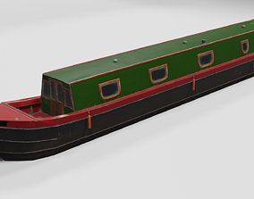 3D model Narrowboat low poly