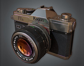 3D asset low-poly SLR Camera Retro 80s