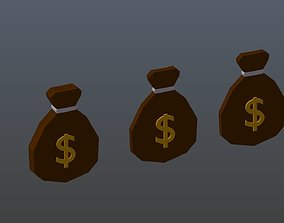 Low poly symbols of money 3D asset