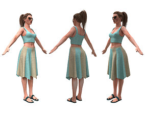 3d realistic woman with skirting clothes
