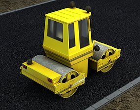 3D model Road Roller construction Leveler grader road 1