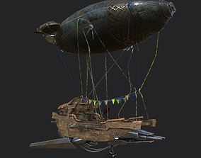 Steampunk AirShip Low-poly 3D model PBR VR / AR ready 2