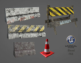 Traffic Barriers 3D model game-ready