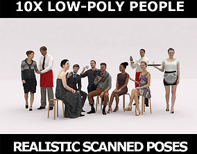 3D model 10x LOW POLY CAFE PEOPLE VOL01 CROWD