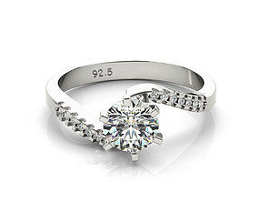 3d cad jewelry design gold and silver engagement ring 3dm